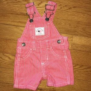 Carters shortalls red  white striped American hunk